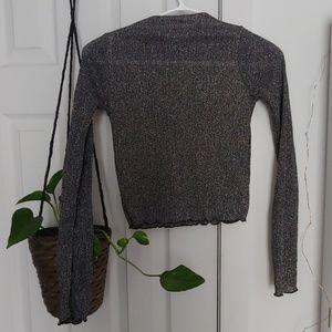 Zara crop top grey silver and black frills